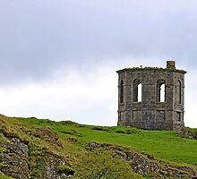 Landscape of ruined building (folly) Howood Scotland by Robert Flynn