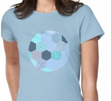 Denim Blue, Aqua & Indigo Hexagon Doodle Pattern Womens Fitted T-Shirt