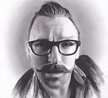 Realism Charcoal Drawing of Artist Damon Lucas Farkas by brittnideweese