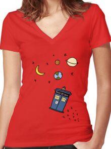 Little Tardis  Women's Fitted V-Neck T-Shirt