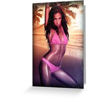 Ocean girl beach bikini summer Greeting Card