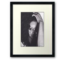 Realism Charcoal Drawing of Beautiful Woman from Honduras Framed Print