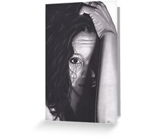 Realism Charcoal Drawing of Beautiful Woman from Honduras Greeting Card