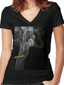Painting Smoke. Women's Fitted V-Neck T-Shirt