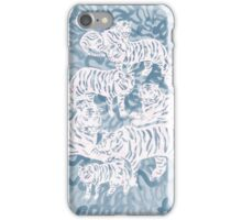 White and blue tigers iPhone Case/Skin