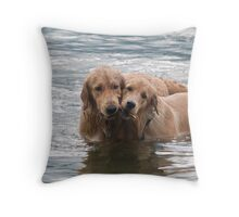 Two Swimming Golden Retrievers In Lake George Throw Pillow