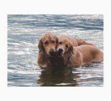 Two Swimming Golden Retrievers In Lake George Kids Tee