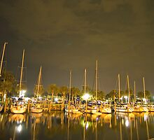 Nightime in the marina by Larry  Grayam