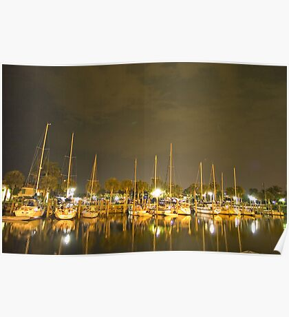 Nightime in the marina Poster