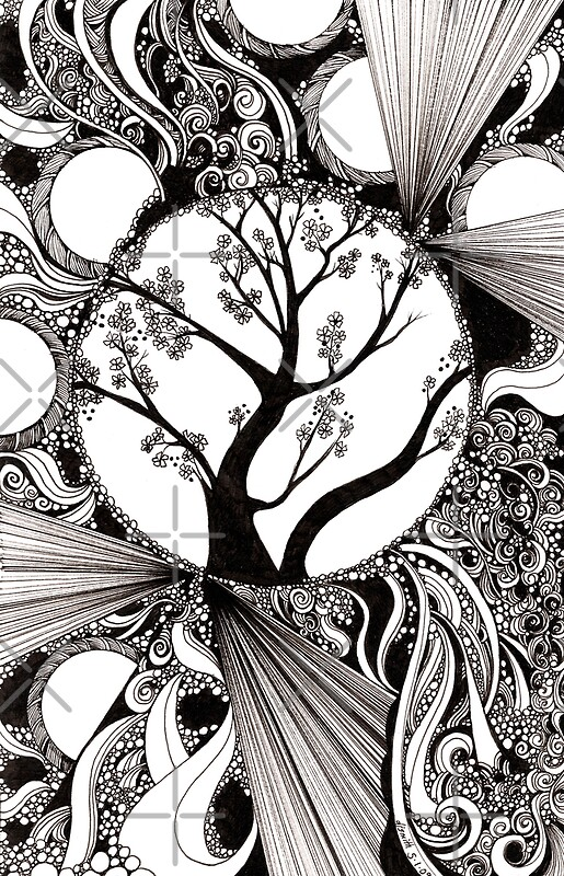 Abstract Tree Coloring Pages : Abstract tree paintings black and white imgkid