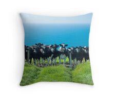 Welsh Cliff Top Cattle Throw Pillow