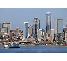 Ferry arriving in Downtown Seattle, Elliott Bay Photographic Print