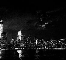 NYC Skyline Black & White by angidphoto