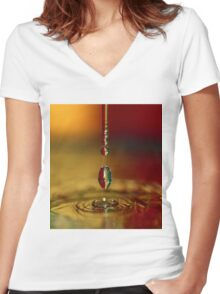 A chain of drop series. Women's Fitted V-Neck T-Shirt
