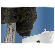 Cypress tree and Greek church--Santorini Poster