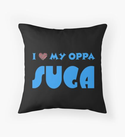 I HEART MY OPPA SUGA  - BLACK  Throw Pillow