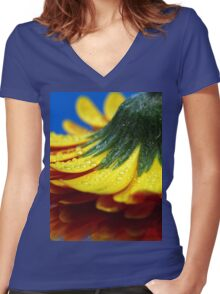 A yellow flower. Women's Fitted V-Neck T-Shirt