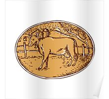 Cow Ranch Farm House Oval Woodcut Poster