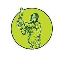 Cricket Player Batsman Batting Drawing Photographic Print