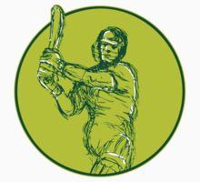 Cricket Player Batsman Batting Drawing by patrimonio
