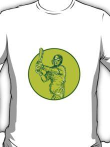 Cricket Player Batsman Batting Drawing T-Shirt