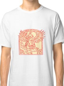 Mexican Eagle Devouring Snake Etching Classic T-Shirt
