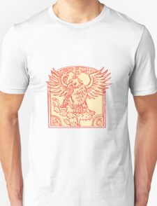 Mexican Eagle Devouring Snake Etching T-Shirt