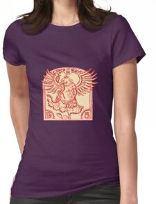 Mexican Eagle Devouring Snake Etching Womens Fitted T-Shirt