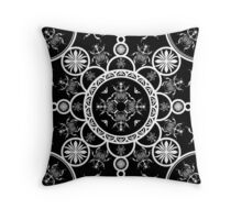 Scarab tile line pattern with black Background Throw Pillow
