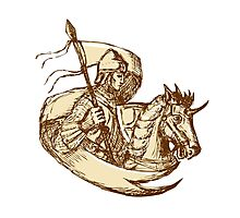 Knight On Horse Holding Flag Drawing Photographic Print