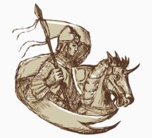 Knight On Horse Holding Flag Drawing by patrimonio