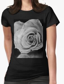 Black and white rose. Womens Fitted T-Shirt