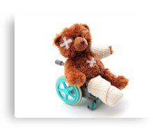 Bear in a wheelchair Canvas Print