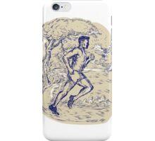 Marathon Runner Running Drawing iPhone Case/Skin