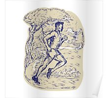 Marathon Runner Running Drawing Poster