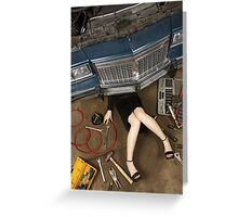 Female mechanic fixing stuff Greeting Card