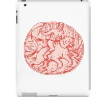 Russian Soldier Riding Bear Etching iPad Case/Skin
