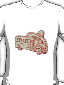 Sombrero School Bus Etching T-Shirt