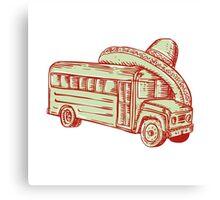 Sombrero School Bus Etching Canvas Print