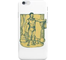 Strongman Lifting Weight Drawing iPhone Case/Skin