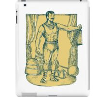 Strongman Lifting Weight Drawing iPad Case/Skin