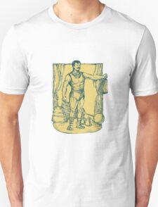 Strongman Lifting Weight Drawing T-Shirt