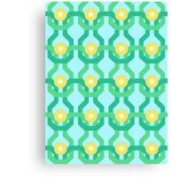 Yellow Flower Knit Pattern Canvas Print