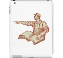 Activist Union Worker Pointing Book Drawing iPad Case/Skin
