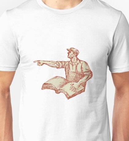 Activist Union Worker Pointing Book Drawing Unisex T-Shirt