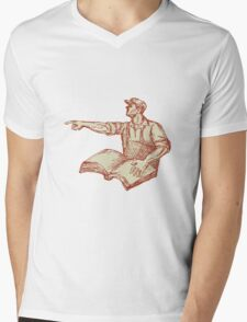 Activist Union Worker Pointing Book Drawing Mens V-Neck T-Shirt