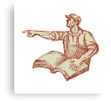 Activist Union Worker Pointing Book Drawing Canvas Print