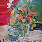 Still Life with Flowers and Bowl by nancy salamouny