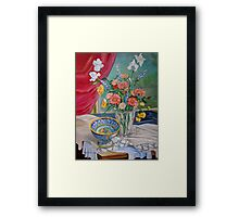 Still Life with Flowers and Bowl Framed Print