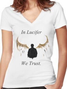 In Lucifer We Trust (Wings) Women's Fitted V-Neck T-Shirt